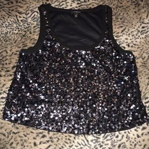 Express Black Cropped Sequin Holiday Top